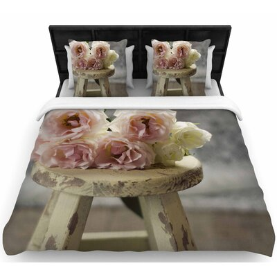 Cristina Mitchell Roses on Stool Floral Photography Woven Duvet Cover Size: Full/Queen
