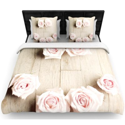 Cristina Mitchell Smile Wood Roses Woven Duvet Cover Size: Full/Queen