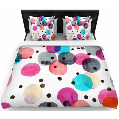 Crystal Walen Festive Watercolor Dots Woven Duvet Cover Size: Full/Queen