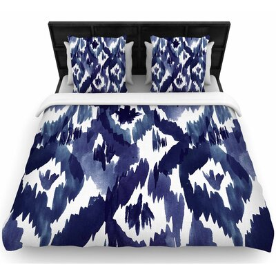 Crystal Walen Indigo Ikat Diamond Woven Duvet Cover Size: King