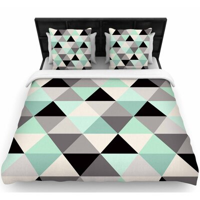Crystal Walen Triangle Geo Mint Woven Duvet Cover Size: King
