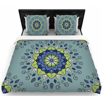 Cristina Bianco Blue and Green Mandala Geometric Woven Duvet Cover Size: King