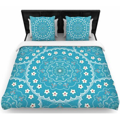 Cristina Bianco Blue and White Mandala Floral Woven Duvet Cover Size: Full/Queen