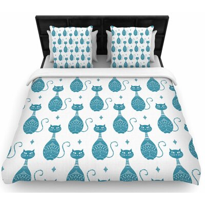 Cristina Bianco Blue Cat Pattern Animal Woven Duvet Cover Size: Twin