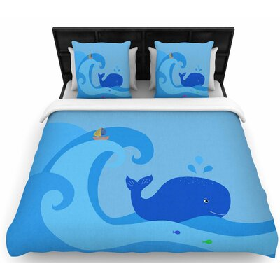 Cristina Bianco Blue Whale Woven Duvet Cover Size: Full/Queen