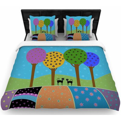 Cristina Bianco Cats and Colorful Landscape Illustration Woven Duvet Cover Size: Twin