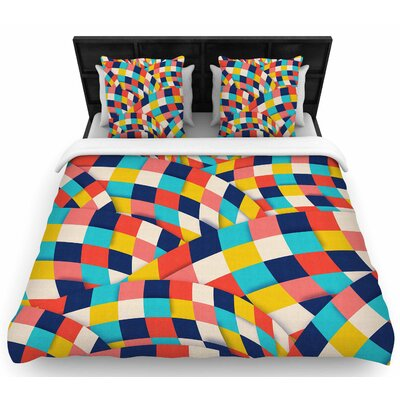 Danny Ivan Curved Squares Woven Duvet Cover Size: King