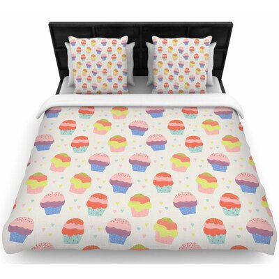 Cristina Bianco Cupcakes Food Woven Duvet Cover Size: Full/Queen