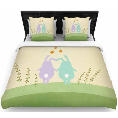 Cristina Bianco Cute Bunnies Animals Woven Duvet Cover Size: Full/Queen