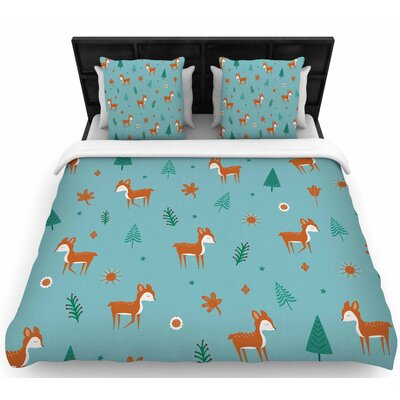 Cristina Bianco Cute Deer Pattern Kids Woven Duvet Cover Size: King