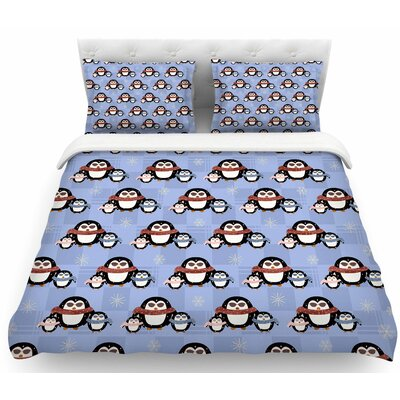 Cristina Bianco Cute Penguins Pattern Featherweight Duvet Cover Size: King