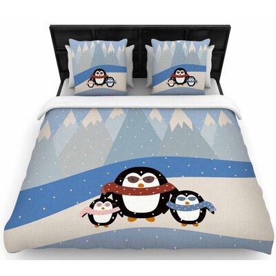 Cristina Bianco Cute Penguins  Woven Duvet Cover Size: Twin