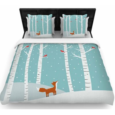 Cristina Bianco Fox Cardinals Winter Kids Woven Duvet Cover Size: King