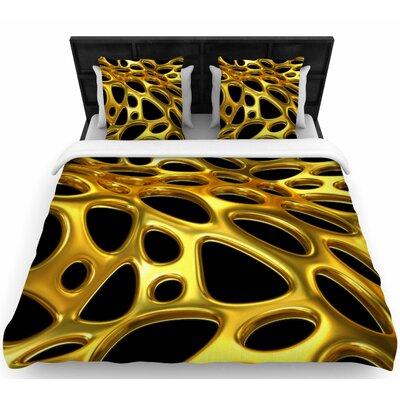 Danny Ivan Gold Voronoi  Woven Duvet Cover Size: Full/Queen