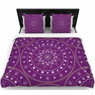 Cristina Bianco Purple Mandalas Geometric Woven Duvet Cover Size: Full/Queen