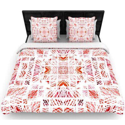Danii Pollehn Scandanavian Square Pink Woven Duvet Cover Size: Full/Queen