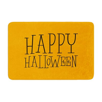 Happy Halloween Memory Foam Bath Rug Size: 0.5 H x 17 W x 24 D, Color: Orange