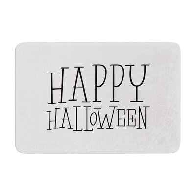 Happy Halloween Memory Foam Bath Rug Size: 0.5 H x 17 W x 24 D, Color: White