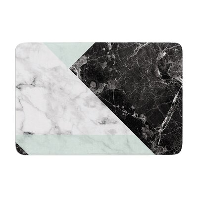 Geo Marble and Coral Art Deco Memory Foam Bath Rug Size: 0.5 H x 17 W x 24 D, Color: Mint