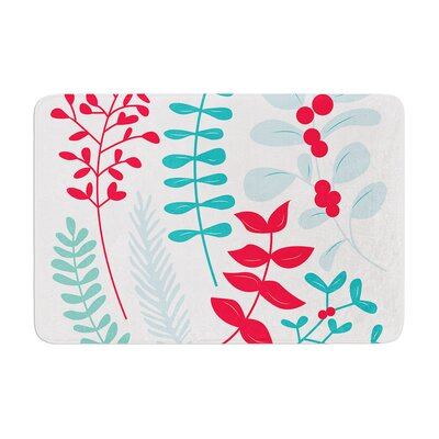 Deck the Hollies Memory Foam Bath Rug Size: 0.5 H x 17 W x 24 D, Color: Red/Teal