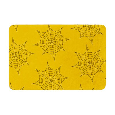 Spiderwebs Memory Foam Bath Rug Size: 0.5 H x 17 W x 24 D, Color: Yellow
