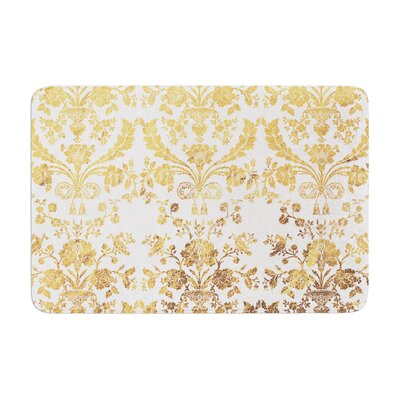 Baroque Rose Abstract Floral Memory Foam Bath Rug Size: 0.5 H x 24 W x 36 D, Color: Gold