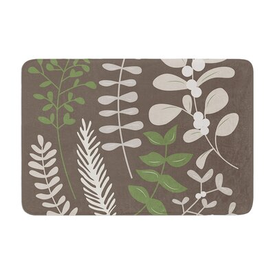 Deck the Hollies Memory Foam Bath Rug Size: 0.5 H x 24 W x 36 D, Color: Brown/Green