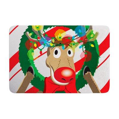 Reindeer Seasonal Memory Foam Bath Rug Size: 0.5 H x 24 W x 36 D