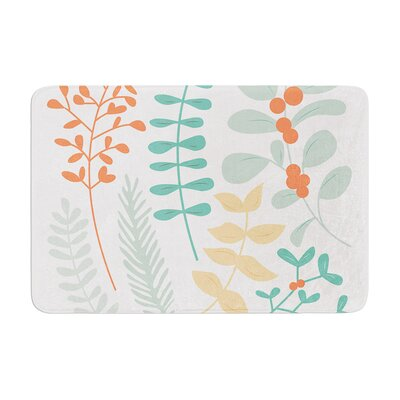 Deck the Hollies Memory Foam Bath Rug Size: 0.5 H x 17 W x 24 D, Color: Orange/Teal