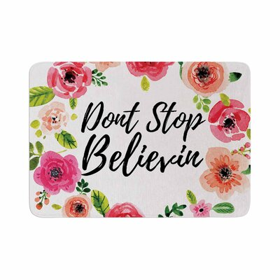Dont Stop Believin Coral Memory Foam Bath Rug Size: 0.5 H x 17 W x 24 D
