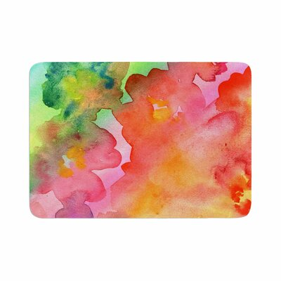 Louise Machado Spring Colours Watercolor Floral Memory Foam Bath Rug Size: 0.5 H x 24 W x 36 D
