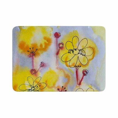 Maria Bazarova Flowers Memory Foam Bath Rug Size: 0.5 H x 24 W x 36 D