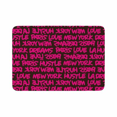 Just L Lux Writing Brn Typography Urban Memory Foam Bath Rug Size: 0.5 H x 24 W x 36 D