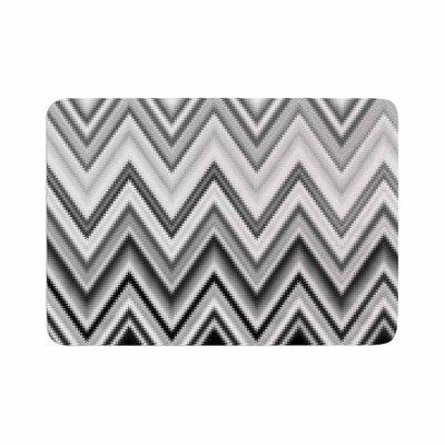 Nika Martinez Seventies Chevron in BW Pattern Memory Foam Bath Rug Size: 0.5 H x 24 W x 36 D