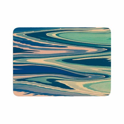 Nika Martinez Beach Waves Abstract Memory Foam Bath Rug Size: 0.5 H x 17 W x 24 D