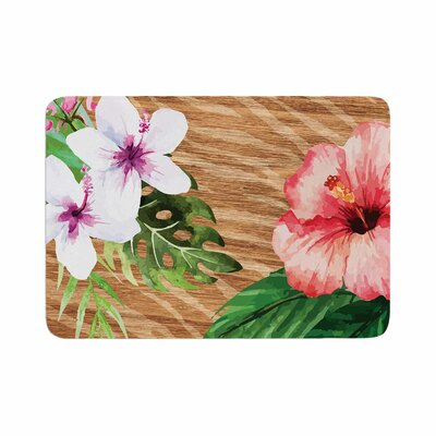 NL designs Vintage Tropical Jungle Floral Memory Foam Bath Rug Size: 0.5 H x 17 W x 24 D