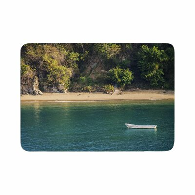 Nick Nareshni Lonely Boat on Coast Photography Memory Foam Bath Rug Size: 0.5 H x 17 W x 24 D