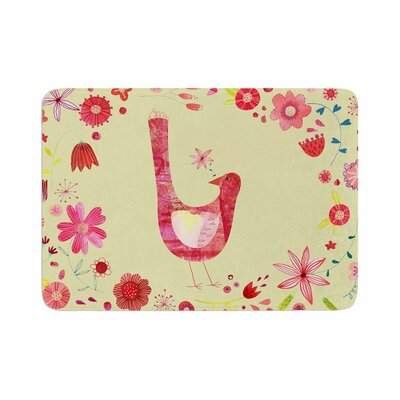 Nic Squirrell Bird in a Circle of Flowers Floral Memory Foam Bath Rug Size: 0.5 H x 17 W x 24 D