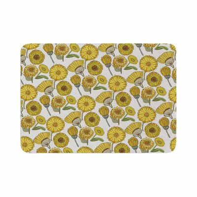 Pom Graphic Design Calendula Flowers Tags Memory Foam Bath Rug Size: 0.5 H x 24 W x 36 D