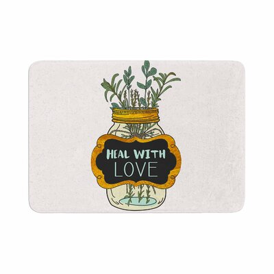 Pom Graphic Design Heal with Love Illustration Memory Foam Bath Rug Size: 0.5 H x 24 W x 36 D