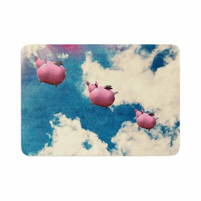 Robin Dickinson When Pigs Fly Digital Memory Foam Bath Rug Size: 0.5 H x 17 W x 24 D
