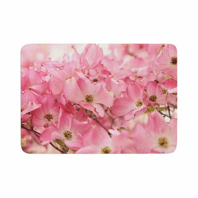 Sylvia Cook Dogwood Floral Photography Memory Foam Bath Rug Size: 0.5 H x 24 W x 36 D