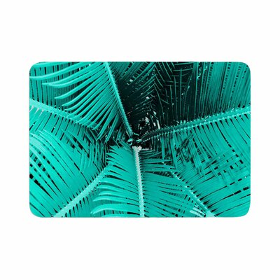 Suzanne Carter Palm Memory Foam Bath Rug Size: 0.5 H x 17 W x 24 D, Color: Aqua