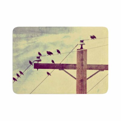 Sylvia Coomes Vintage Birds on a Wire 2 Digital Memory Foam Bath Rug Size: 0.5 H x 24 W x 36 D