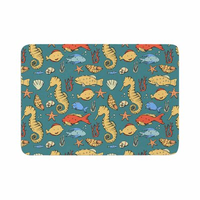 Stephanie Vaeth Under the Sea Illustration Memory Foam Bath Rug Size: 0.5 H x 17 W x 24 D