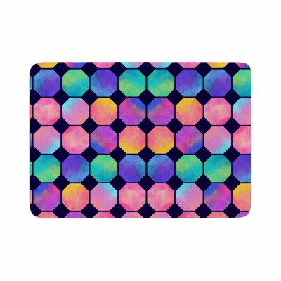 Noonday Design Colorful Watercolor Octagons Watercolor Abstract Memory Foam Bath Rug Size: 0.5 H x 24 W x 36 D