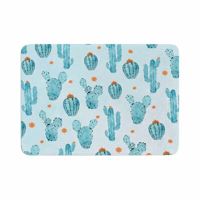 Strawberringo Cactus Pattern Watercolor Memory Foam Bath Rug Size: 0.5 H x 17 W x 24 D