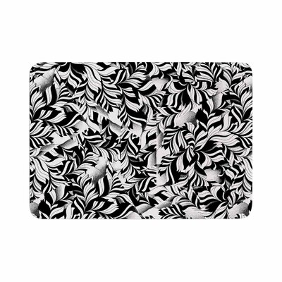 Victoria Krupp Monochrome Leaves Mosaic Memory Foam Bath Rug Size: 0.5 H x 24 W x 36 D