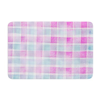 Michelle Drew Watercolour Checked Tartan Sin Magenta Plaid Memory Foam Bath Rug Size: 0.5 H x 24 W x 36 D