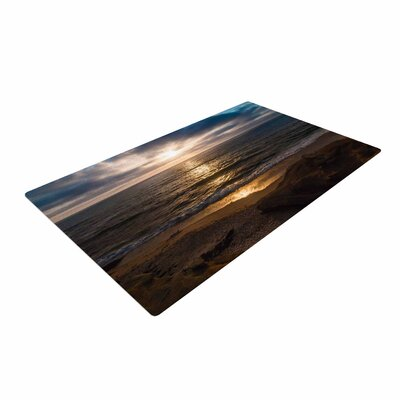 Nick Nareshni La Jolla Sunset on Beach Blue Area Rug